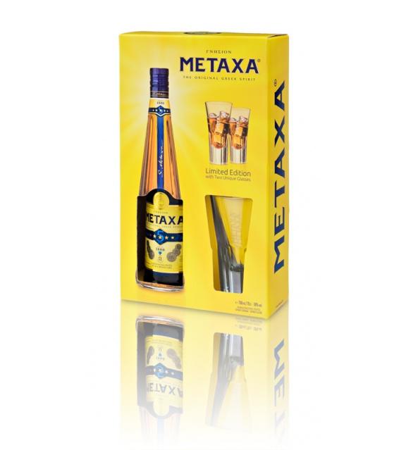 Metaxa 5* v krabičce s 2 pohárikmi 0,7l 38%