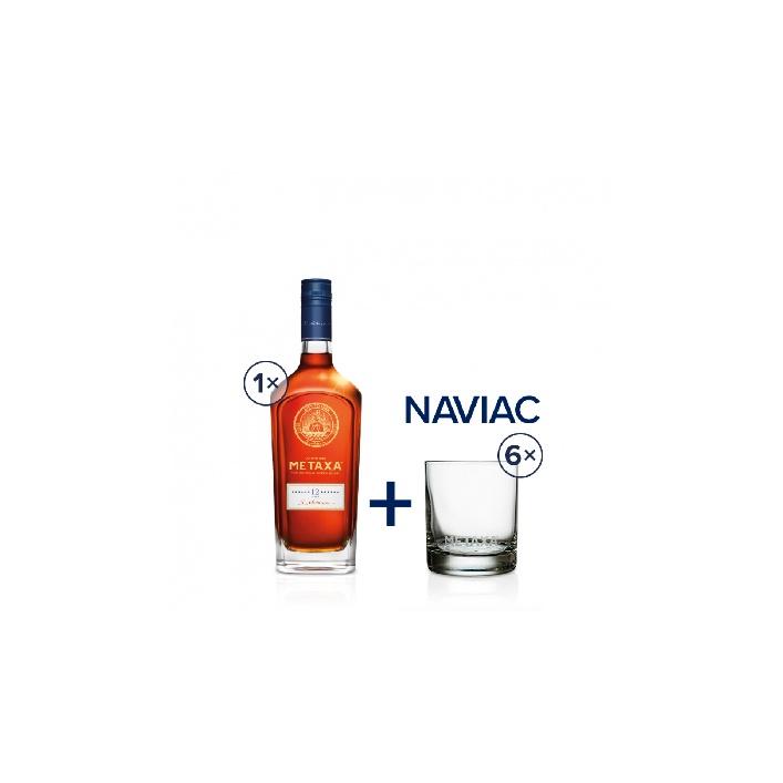 Metaxa 12* 0,7l 40% se 6 pohárikmi naviac